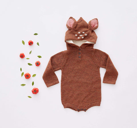 Bambi Hooded Onesie-Hazelnut-Oeuf LLC