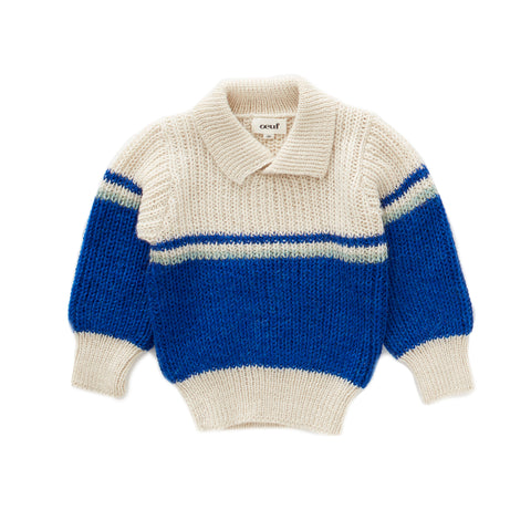Ski Sweater-White/Electric Blue-6M-Oeuf LLC
