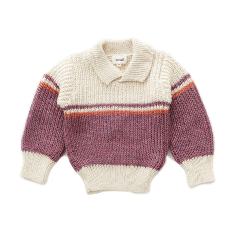 Ski Sweater-White/Mauve-6M-Oeuf LLC