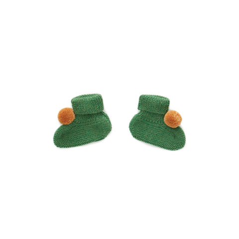 Pom Pom Booties-Green
