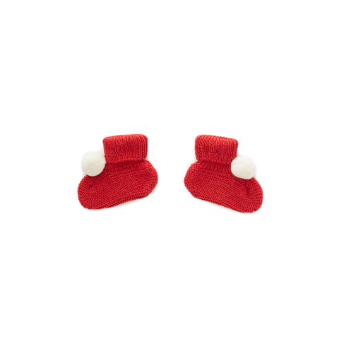 Pom Pom Booties-Red