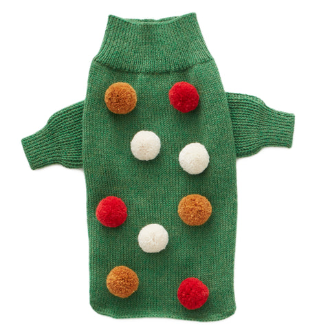 Dog Sweater-Green Pompom - Oeuf LLC