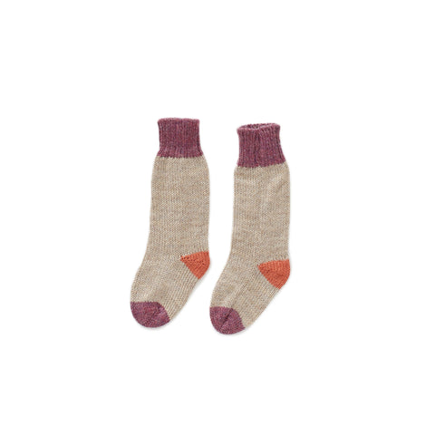 Long Socks-Grey/Mauve-12M-Oeuf LLC