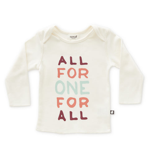 LS Tee-White/Apricot All For One-3M-Oeuf LLC