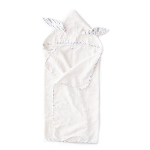Kid Hooded Towel-White/Indigo Dots-Oeuf LLC
