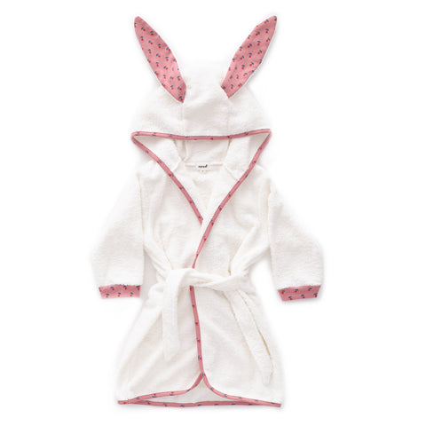 Hooded Robe-Dark Pink/Tulips-2Y-Oeuf LLC