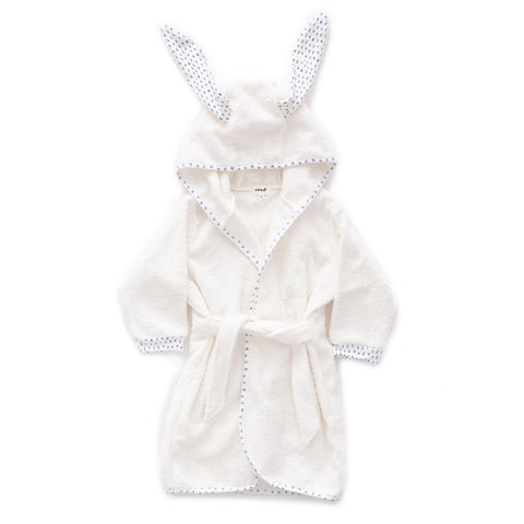 Hooded Robe-White/Numbers-12M-Oeuf LLC