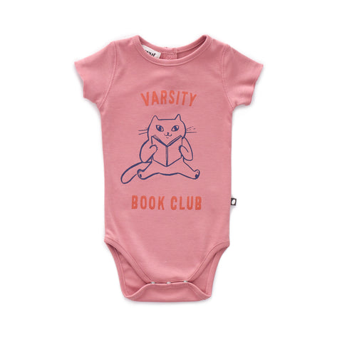 Back Button Onesie-Dark Pink/Book Club-3M-Oeuf LLC