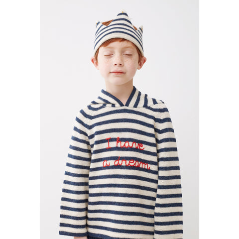Striped Hooded Sweater-White/Indigo Stripes - Oeuf LLC