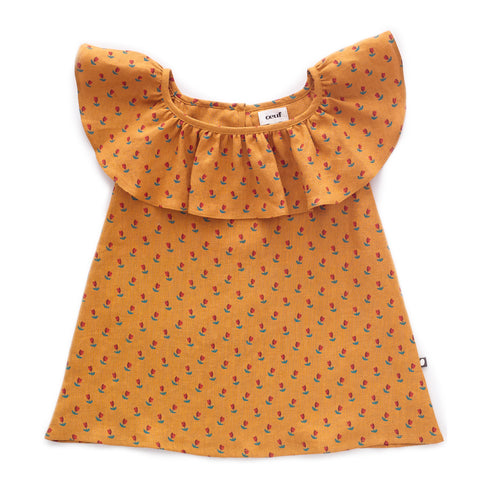 Ruffle Linen Dress-Ochre/Tulips-6m-Oeuf LLC