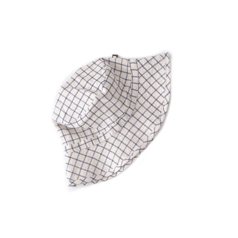 Kid Hat-Beige/Blue Checks-Oeuf LLC