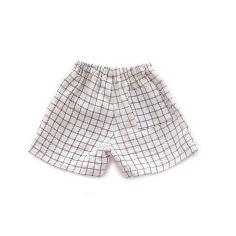 Linen Shorts-Beige/Blue Checks-10Y-Oeuf LLC