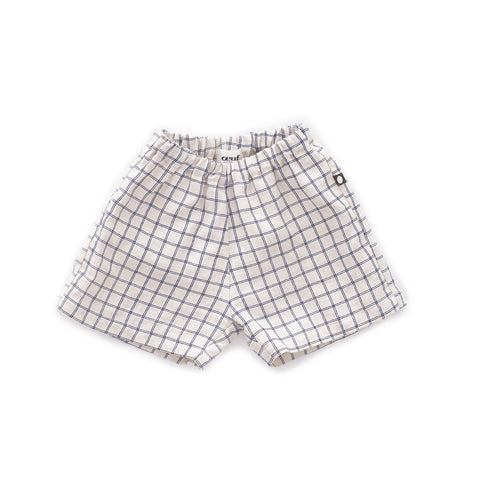 Linen Shorts-Beige/Blue Checks-6M-Oeuf LLC