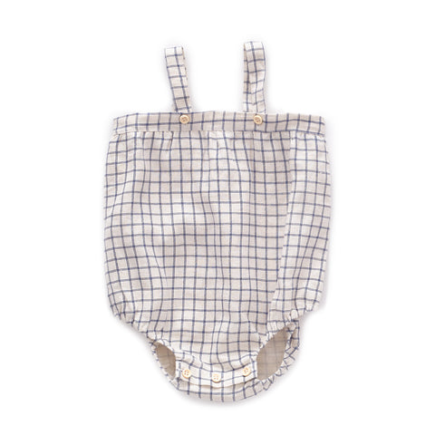 Romper With Straps-Beige/Blue Checks-6m-Oeuf LLC
