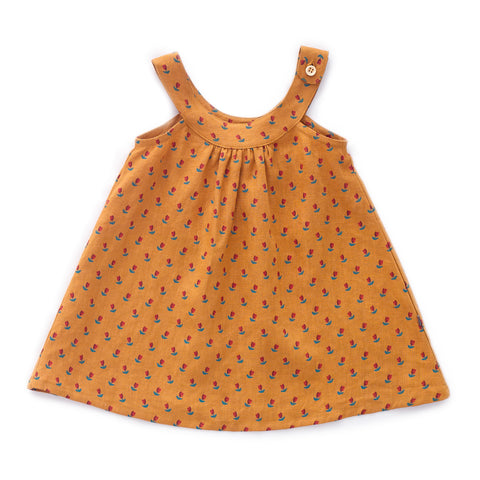 Sleeveless Dress-Ochre/Tulips-10Y-Oeuf LLC