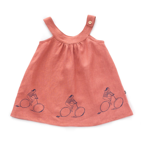 Sleeveless Dress-Rust/Bike Print-12M-Oeuf LLC