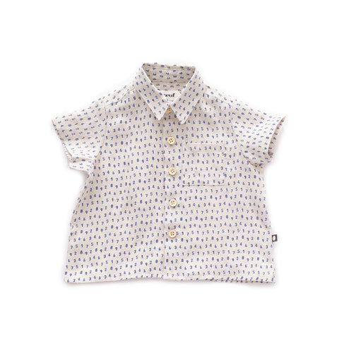 Button Down Shirt-Beige/Numbers-6M-Oeuf LLC