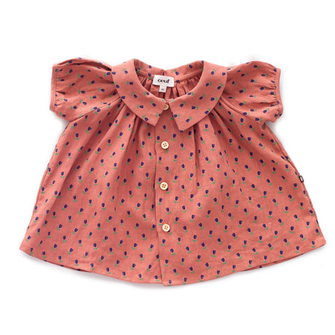SS Blouse-Rust/Tulips-6M-Oeuf LLC