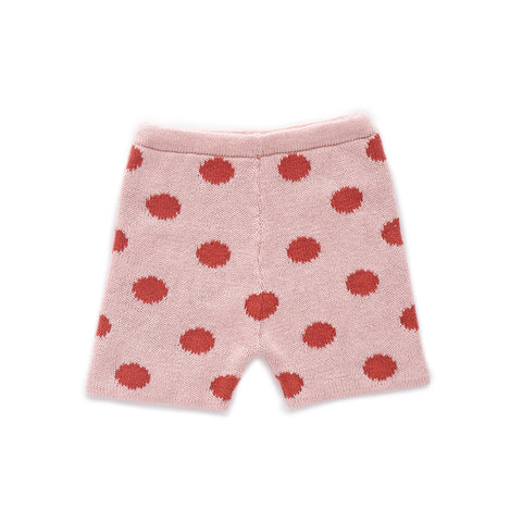 Knit Shorts-Light Pink/Rust Dots-6M-Oeuf LLC