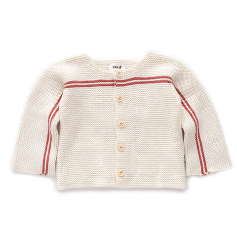 Stripe Cardi-White/Rust-6m-Oeuf LLC