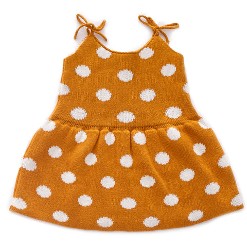 Tie Strap Dress-Ochre/White Dots-6M-Oeuf LLC