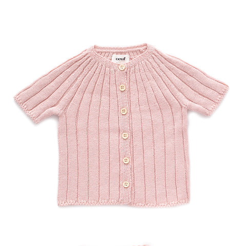 SS Ribbed Cardi-Light Pink-6M-Oeuf LLC