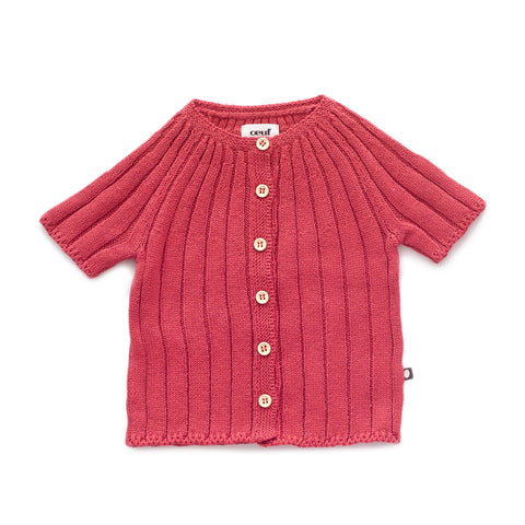 SS Ribbed Cardi-Cranberry-6M-Oeuf LLC