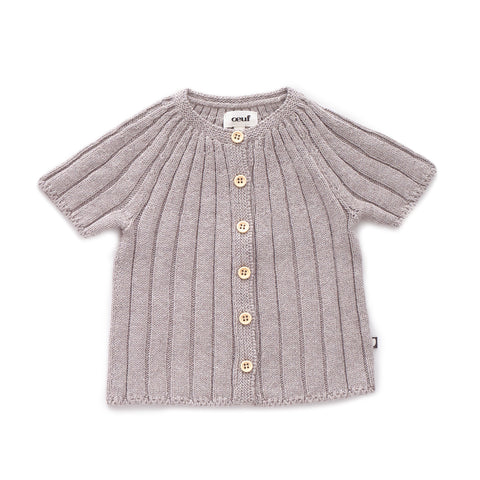 SS Ribbed Cardi-Light Grey-6M-Oeuf LLC