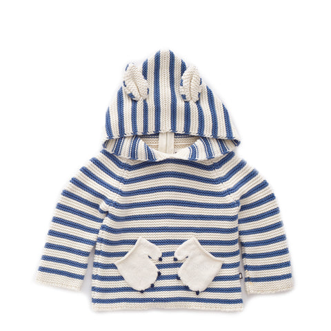 Wildcat Hoodie-White/Blue Stripes-6M-Oeuf LLC