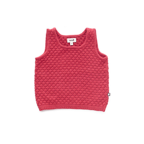 Honeycomb Knit Tank-Cranberry-6M-Oeuf LLC