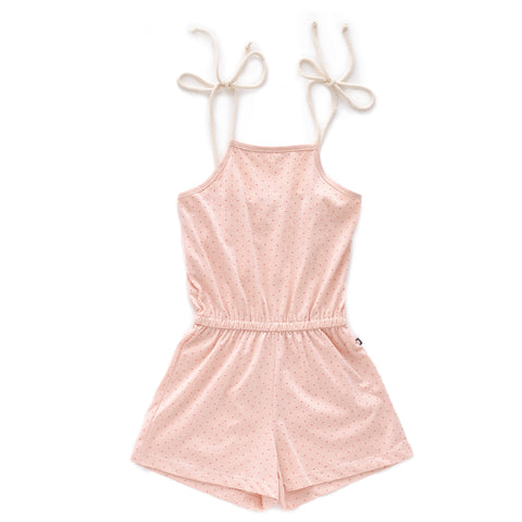 Jersey Playsuit-Light Pink/Rusts Dots-2Y-Oeuf LLC