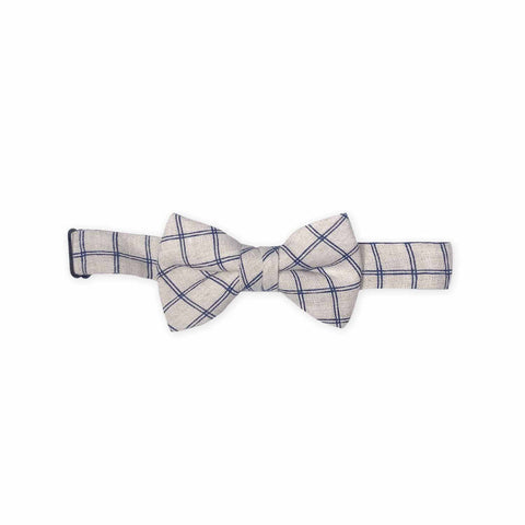 Kid Bow Tie-Beige/Blue Check-Oeuf LLC