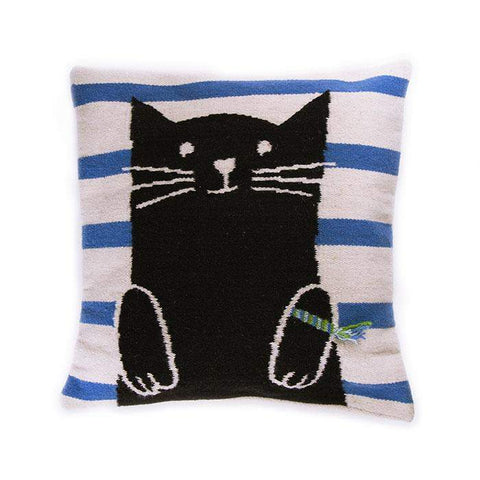 Wool Cat Pillow-White/Multi - Oeuf LLC