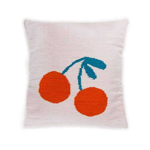 Wool Cherry Pillow-White/Red - Oeuf LLC