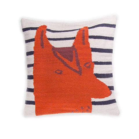 Wool Fox Pillow-White/Multi - Oeuf LLC