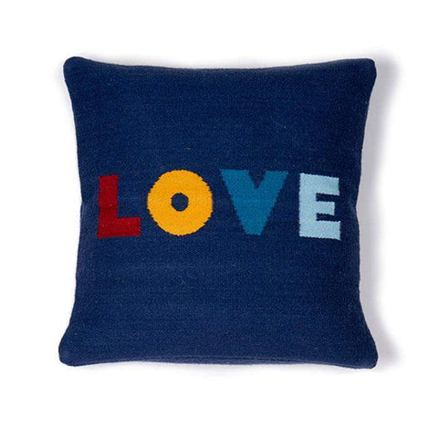Wool Love Pillow-Navy/Multi-Oeuf LLC