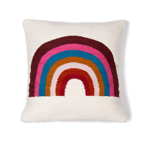 Wool Rainbow Pillow-White/Multi - Oeuf LLC