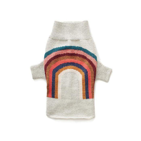 Dog Rainbow Sweater-Light Grey/Multi - Oeuf LLC