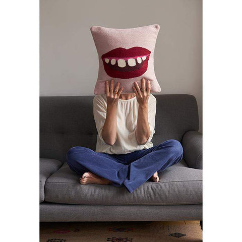 Wool Mouth Pillow-Pink/Multi