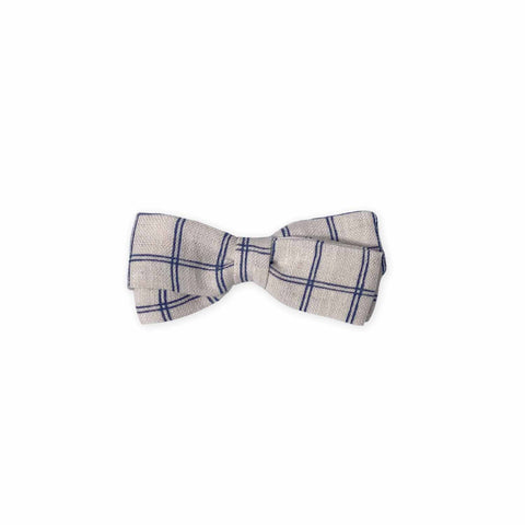 Folded Bow, Alligator Clip-Beige/Blue Check-Oeuf LLC