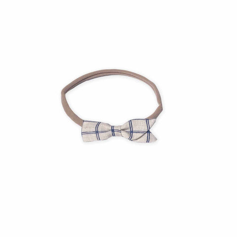 Petal Bow Headband-Beige/Blue Check-Oeuf LLC