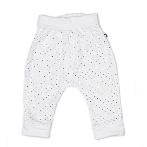 harem pants-white/indigo dots-Oeuf LLC