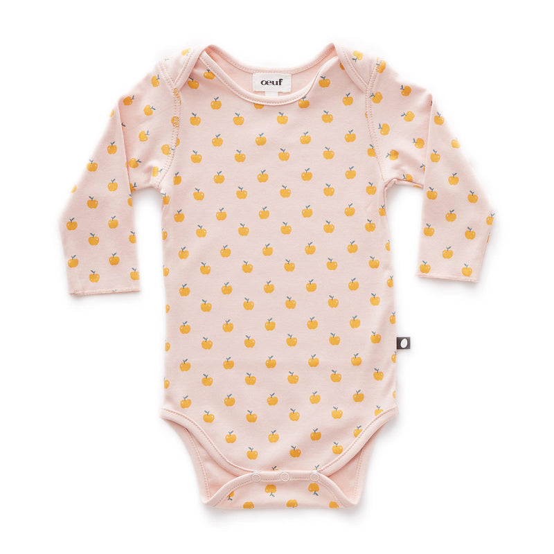 Tee Onesie LS-Light Pink/Apples - Oeuf LLC