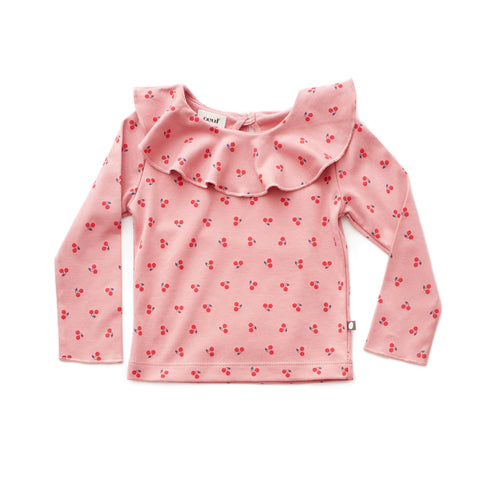 Ruffle Collar Tee-Dark Pink/Cherries-Oeuf LLC