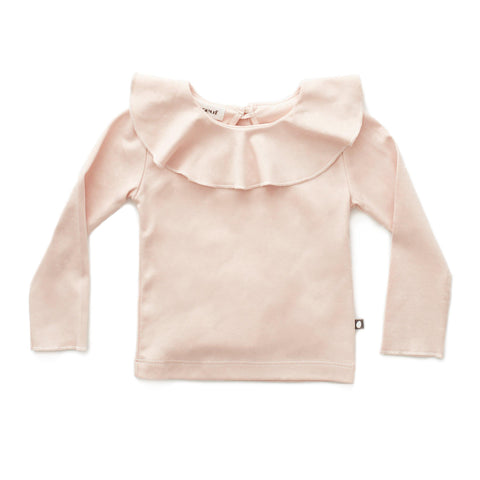 Ruffle Collar Tee-Light Pink-Oeuf LLC
