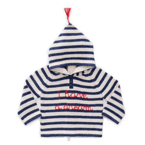 Striped Hooded Sweater-White/Indigo Stripes-Oeuf LLC