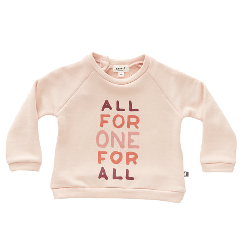 Sweatshirt-Lt Pink/All For One-6M-Oeuf LLC