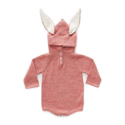 Bunny Hooded Onesie-Rose - Oeuf LLC