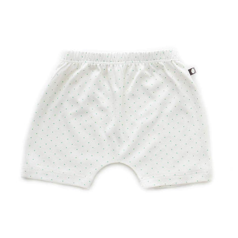 Baby Harem Shorts-White/Green Dots