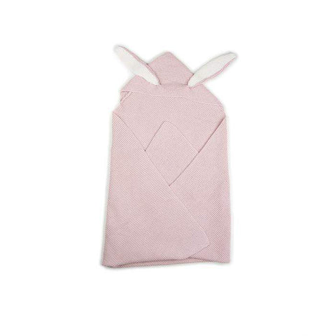 bunny ears blanket-light pink-Oeuf LLC